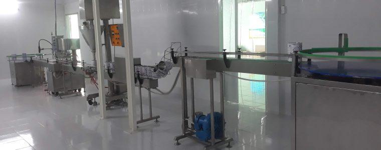 Dây chuyền chiết rót và ghép mí lon tự động cho nguyên liệu dạng bột